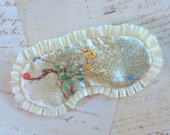 Brocade Sleep Mask in Cream, Green // Satin Eye Mask, Floral, Ruffles