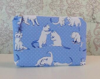 Playful Kittens Zipper Pouch // Cotton Organizer Bag