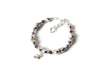 February Birthstone Bracelet, Little Girls Jewelry Bracelet, Girls Initial Bracelet, Amethyst Birthstone, Personalized Bracelet for Kids
