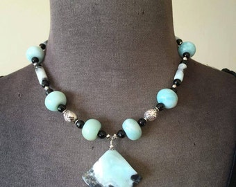 PRICE REDUCED was 75 dollars!!!!!!!!!!   Amazonite & Black Onyx Necklace