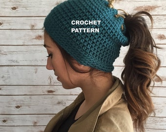 Runner's Beanie Hat Pattern, Ponytail Hole Hat, Crochet Hat PATTERN, Basic Beanie
