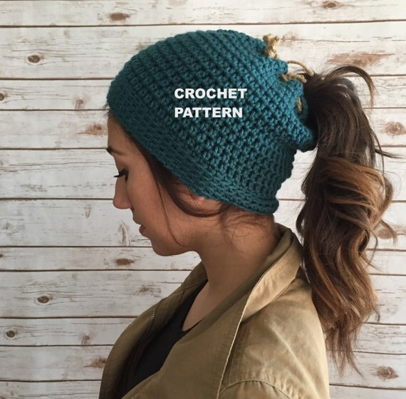 Crochet Patterns Messy Bun Beanie : Messy Bun Beanie Pattern, Runners Beanie Hat Pattern, Ponytail Hole ...