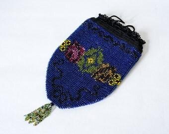 1900s vintage purse / antique beaded purse / blue glass bead reticule