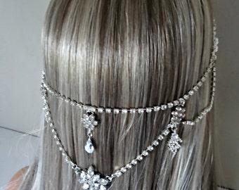 Bridal Headpiece Wedding Headpiece Bridal Head Chain Head Jewelry Chain Head Chain Hair Jewelry Headpiece Head Piece Bridal Hair Chain - Tia