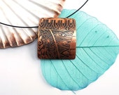 Copper pendant ~ Etched Necklace Oxidized Jewellery Zentangle Zen Doodle Jewelry Square Pendant 7th Wedding Anniversary Gift for Women