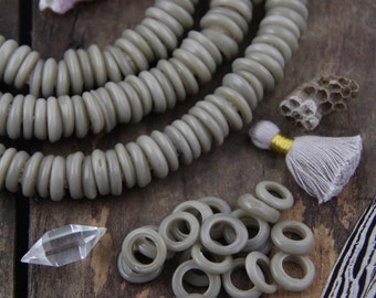 Grey Dutch Donut Dogan Beads, Mali, Africa, Large Hole Glass Beads, Neutral Fall Boho Bohemian Tribal 11-12mm, Jewelry Making Supply, 10 pcs
