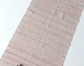 vintage rag rug, farmhouse throw rug, pink floor runner