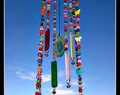 Stained Glass Wind Chime with Beads - Beach Glass- - Bells- Aqua Agate Slice stained glass windchime