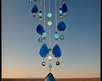 Beach Glass Windchime, Tiered Beach Glass, Beaded Beach Glass Wind Chime, Outdoor decor,Stained glass beaded wind chime