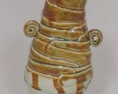 Vase-Vessel-Bowl-Ribbon Sculpture-Hand Built-One of a Kind-Studio Pottery-Celadon-Brown-