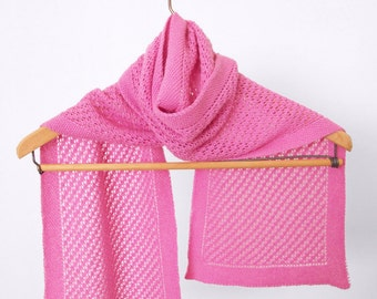 Hand Knit Cashmere Scarf, Lace Knit Scarf, Pink Wool Scarf, Cashmere Muffler, Knitted Lace Scarf, Soft Pink Scarf, Hand Knit Lace Muffler