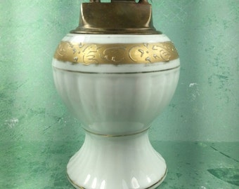 VINTAGE 1950s White Ceramic Table Top Lighter Gold Trim Cigarette Cigar Tabletop Mad Men Japan 7141 Nippon Mid Century Guy Gift