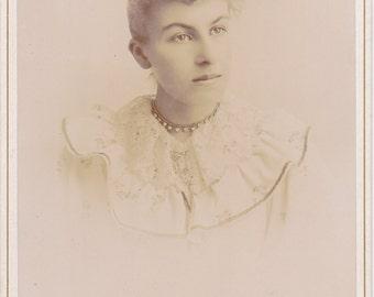 Serious Beauty- 1800s Antique Photograph- Victorian Woman- Rhinestone Choker Necklace- Wakefield, Nebraska- Cabinet Photo- Paper Ephemera