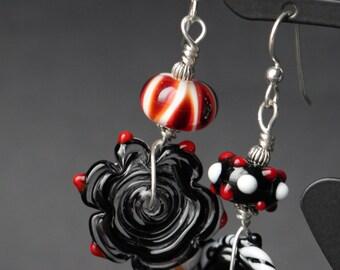 Asymmetrical Black White Red Lampworking Sterling Silver Earrings