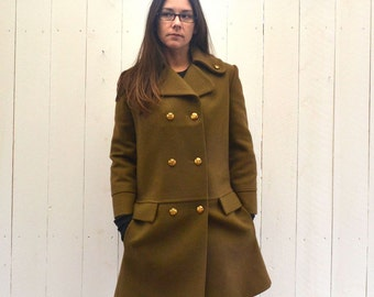 Wool Pea Coat - Mustard Brown Early 90s Jacket - Vintage Double Breasted Button Coat - Small S / Medium M