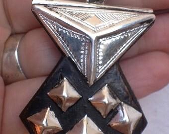 Tuareg Pure Silver Amulet Khomissar/ Khomeissa Hamza with Ebony Wood