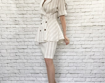 Vintage 80s Striped Peplum Ruffle Dress Beige Cream Menswear Oversized Retro 40s Deco S M