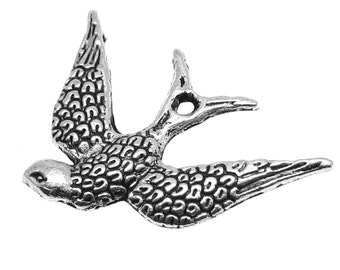 Antique Silver Bird Charms / Oxidized Silver Bird Pendants [Choose 1 piece or 10 pieces] -- Lead, Nickel & Cadmium Free Jewelry Findings D2