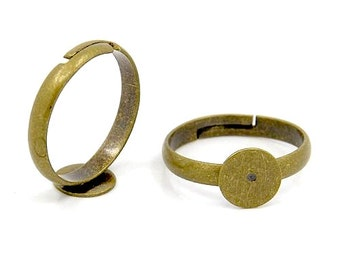 Ring Blanks : 4 pieces Antique Bronze Ring Component with 10mm Glue Pad  Adjustable Brass Ring Setting -- Lead, Nickel & Cadmium free 022-F7