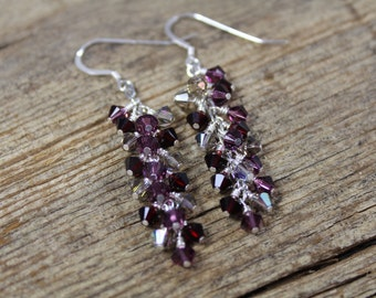 Dangle Swarovski Crystal Earrings / Garnet, Amethyst, Griege AB Swarovski Crystal / Purple Earrings / Gifts for Her / Gifts for Women