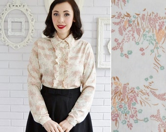 Vintage Cream and Floral Blouse with Ruffles by Devon Size Small