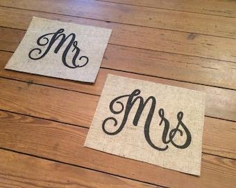 "Burlap ""Mr"" and ""Mrs"" Burlap Signs - Wedding Decor - Engagement Photo Prop - Wedding Announcement - Photography Props - Rustic Wedding Decor"