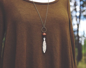 boho carved bone feather necklace
