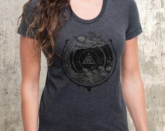 Women's Serpents & Water T-Shirt - Women's Screen Printed T-Shirt - American Apparel Heather Black