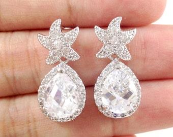 CZ Star Earrings // Bridal Cubic Zirconia Starfish Teardrop Pear Dangle Bridesmaids Earrings // Beach Wedding Earrings