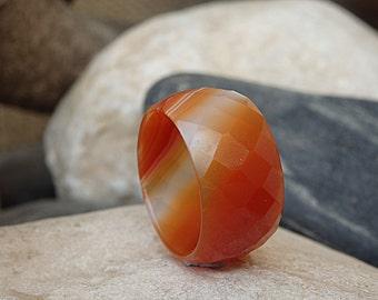 Women's Orange Band Ring, Orange Ring, Agate Band Ring, Orange Agate Ring, Gemstone Ring, Wide Agate Band Ring, Orange Tones Statement Ring