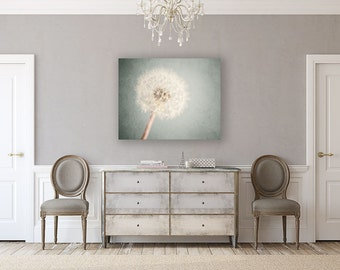 Canvas Art: Dandelion Gallery Wrapped Canvas, Nursery Decor, Shabby Chic Decor, Flower Print, Soft Blue, Cottage Chic Decor, Dandelion Art.