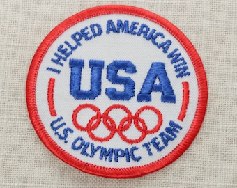 U.S. Olympic Team Patch   Vintage Iron On (Or Sew On) Patch - I Helped America Win - USA - Red White Blue Rings US   United States