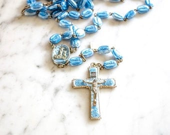 RARE Vintage Legatura Brevetto Rosary, Our Lady of Lourdes, 100th Anniversary, 1958, Alpacca Silver