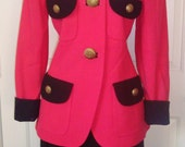 DAVID HAYES Pink Coral  Black Suit, Size 10, for Nemian Marcus, Wool Crepe, Lrg Gold Buttons, Vintage NEW 80's, Skirt Jacket
