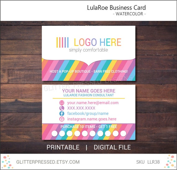 Lularoe business card personalized printable by glitterpressed for Etsy lularoe business cards