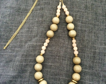 Long Necklace - dusty green, blush and gold