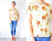 Vintage yellow floral blouse // BOHO floral top // floral shirt top // summer blouse // short sleeve slouchy top // XS small blouse spring
