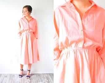 Vintage coral pink midi long sleeve dress // modest summer dress // thin summer dress // peach maxi dress // long sleeve modest dress