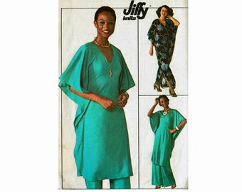 70s Caftan or Tunic with Pants Evening hostess 1970s Size 14 Bust 36 Sewing Pattern for Stretch Knits Jiffy Simplicity 7745 high fashion