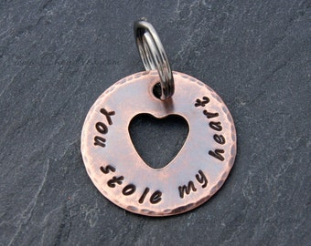 You Stole My Heart, Gift for Boyfriend, Anniversary Gift for Husband, Girlfriend, Rustic Copper Keychain, Wedding Gift for Fiancé,