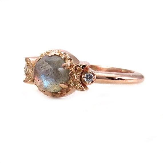 Labradorite and Diamond Moon Goddess Engagement Ring - Gothic Victorian Rose Gold Ring