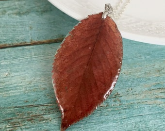 Real  leaf pendant,  pendant Natur Jewelry, pendant Resin Necklace