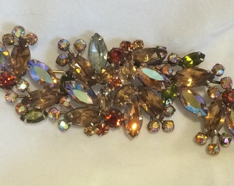 "SALE Signed Weiss Rhinestone Pin Brooch in Champagne Orange Green - 4"" Vintage Pin for Coat w/ Multi Colored Aurora Borealis Crystals"