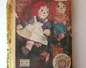 "1970 Raggedy Ann and Andy Doll Sewing Pattern McCalls 2531 15""  20"" 25"" Doll, Stuffed Cloth Doll Rag Doll Pattern Embroidery Transfer UNCUT"
