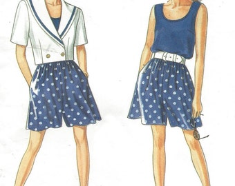 90s Womens Sailor Collar Jacket, Tank Top & Shorts Simplicity Sewing Pattern 7790 Size 8 10 12 14 16 18 20 Bust 31 1/2 to 42 UnCut