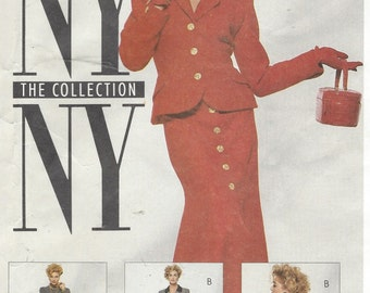 90s NY NY the Collection Womens Retro Jacket and Front Button Skirts McCalls Sewing Pattern 6191 Size 16 Bust 38 UnCut Sewing Patterns