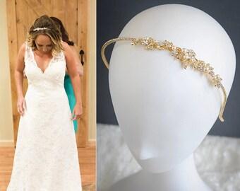 Bridal Headband, Gold Wedding Headband, Crystal Flower Leaf Vine Headband, Swarovski Pearl Hairband,Wedding Bridal Hair Jewelry, TIMOTHEA