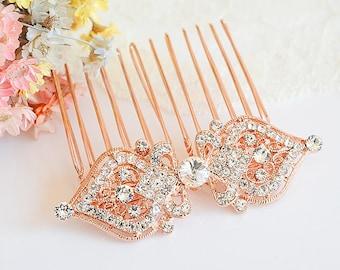 Rose Gold Bridal Hair Comb, Wedding Hair Comb, Crystal Wedding Hair Pin, Vintage Style Filigree Hair Jewelry, Bridal Hair Accessories, GRACE
