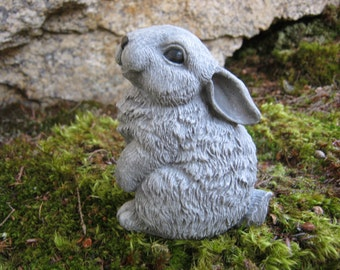 Marvelous Rabbit Statue, Cute Bunny Garden Figure, Painted Concrete Garden Statue,  Woodland Animal Garden