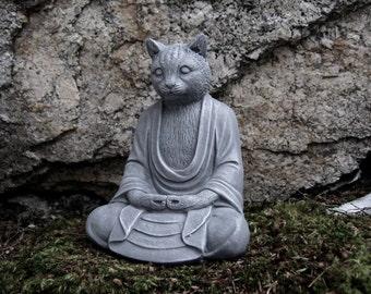 Buddha Cat Statue, Concrete Cats, Buddha Figure, Cement Garden Decor, Buddhism, Zen Garden, Cement Cat Statues, Garden Statues, Stone Cat